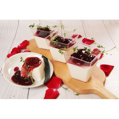 0722 Coconut Panna Cotta With Cherry Compote