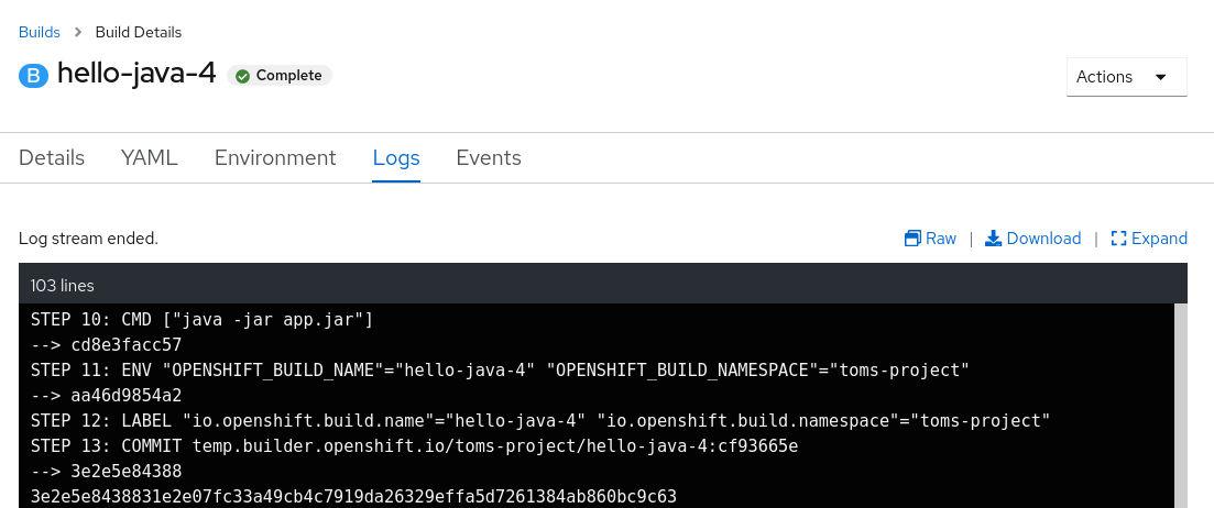 OpenShift build running