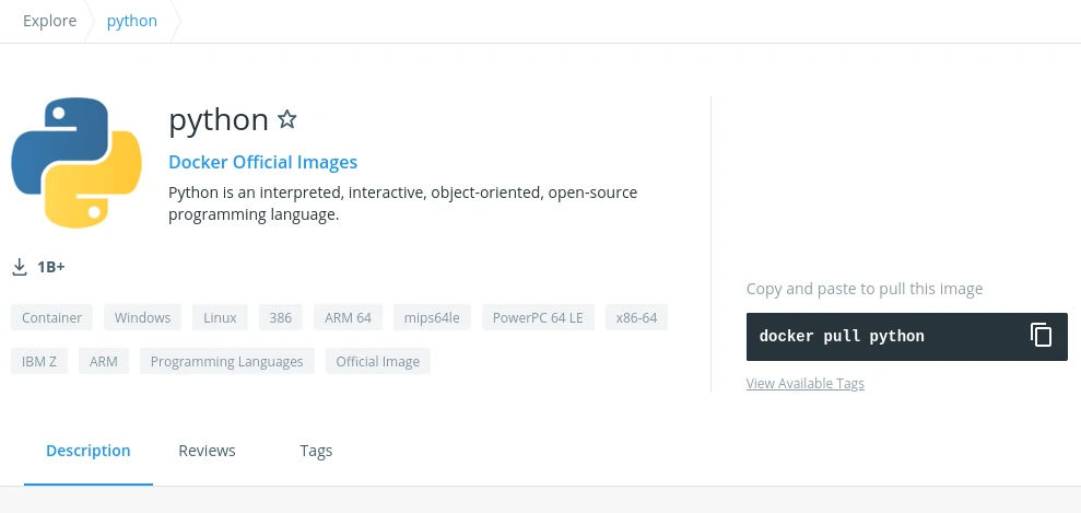 Viewing an image listing in Docker Hub
