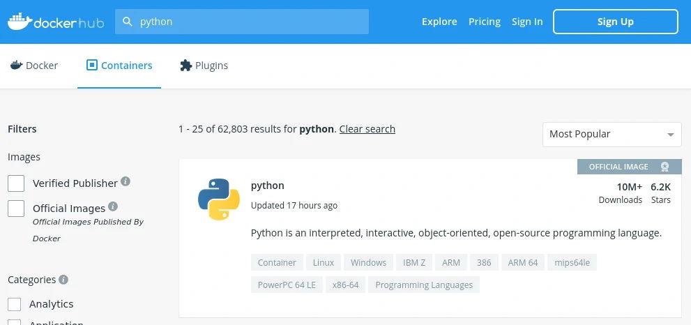Search results in Docker Hub