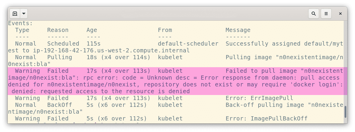 kubectl describe command showing 'repository does not exist' error