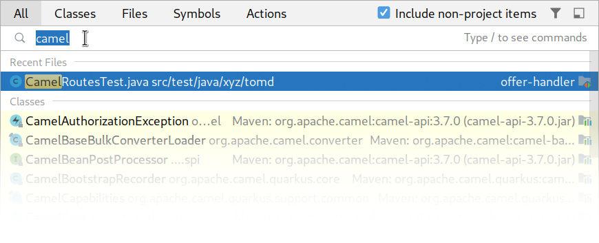 Fuzzy Search in IntelliJ