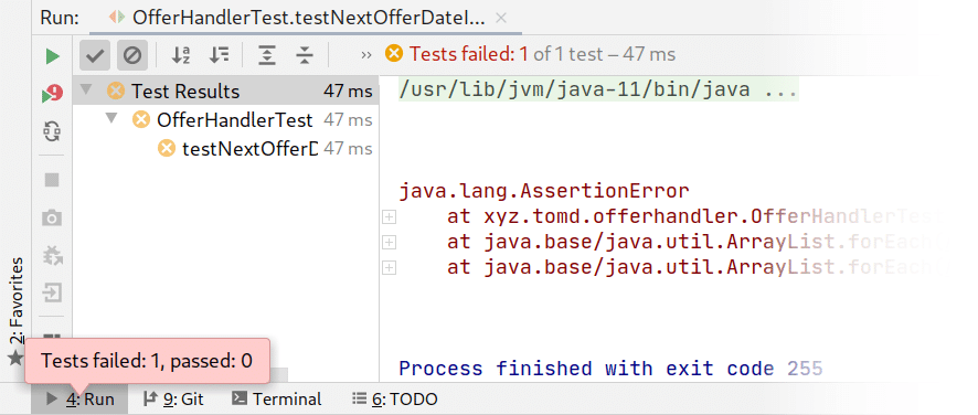 Screenshot of unit tests in IntelliJ