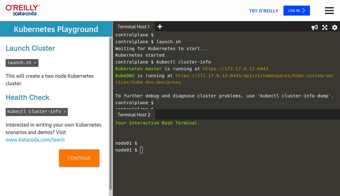 Screenshot from the Katacoda Kubernetes playground scenario