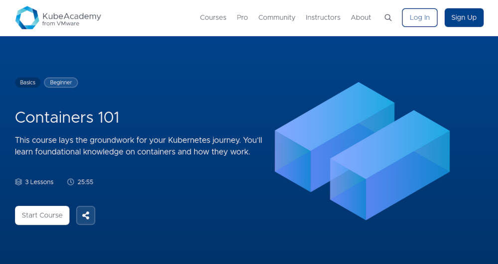 Screenshot from VMware KubeAcademy website