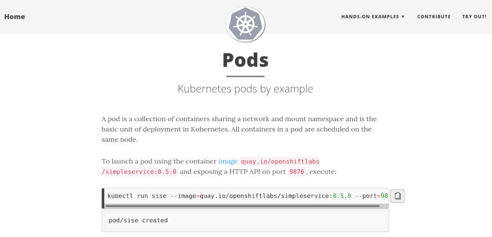 Screenshot from the Kubernetes by Example website
