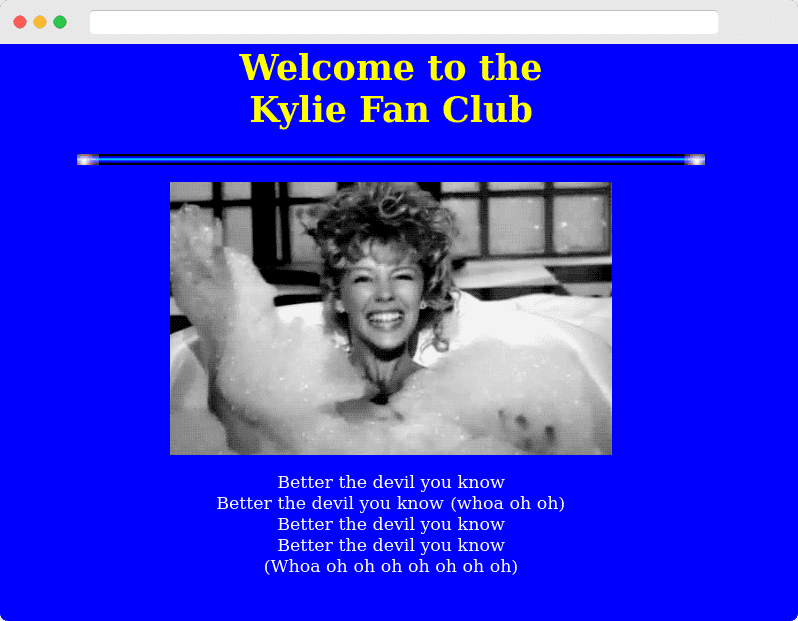 Kylie Fan Club web page