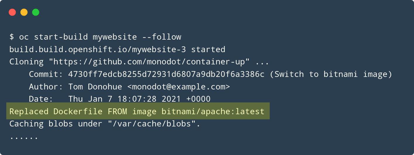 Screenshot from oc start-build with an imagestream