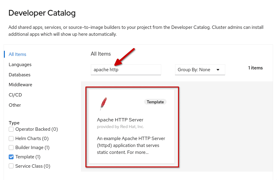 Search result for 'apache http' in the OpenShift developer catalog