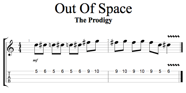 Out of Space - Melody line