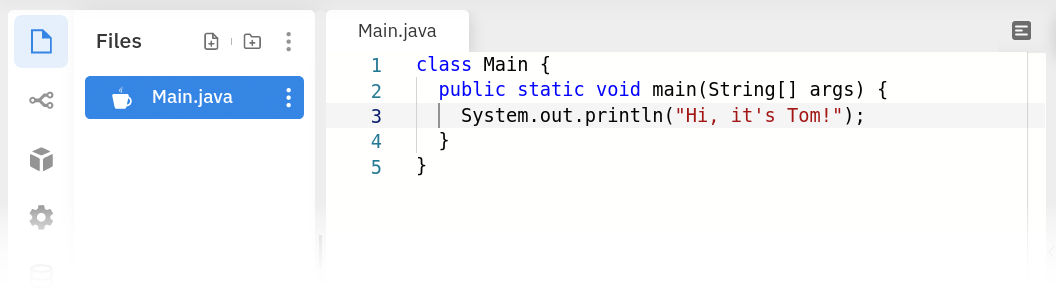 The Java editor in Repl.it