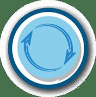 Logo sirkuler yang melambangkan suatu proses yang berkelanjutan