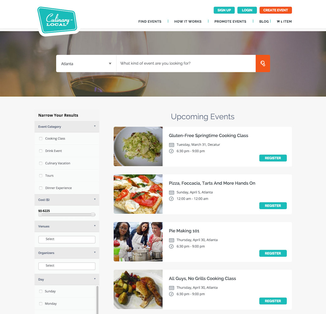 showcase - culinary local - list view