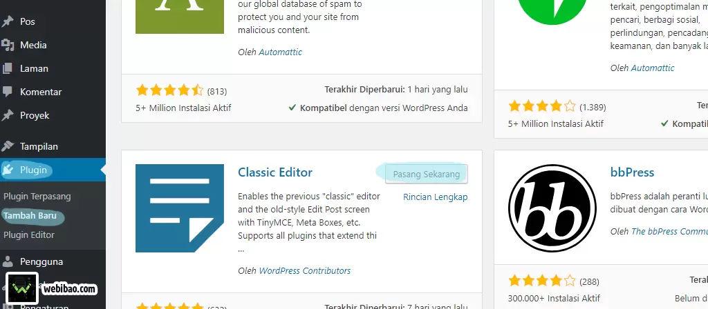 cara install classic editor wordpress