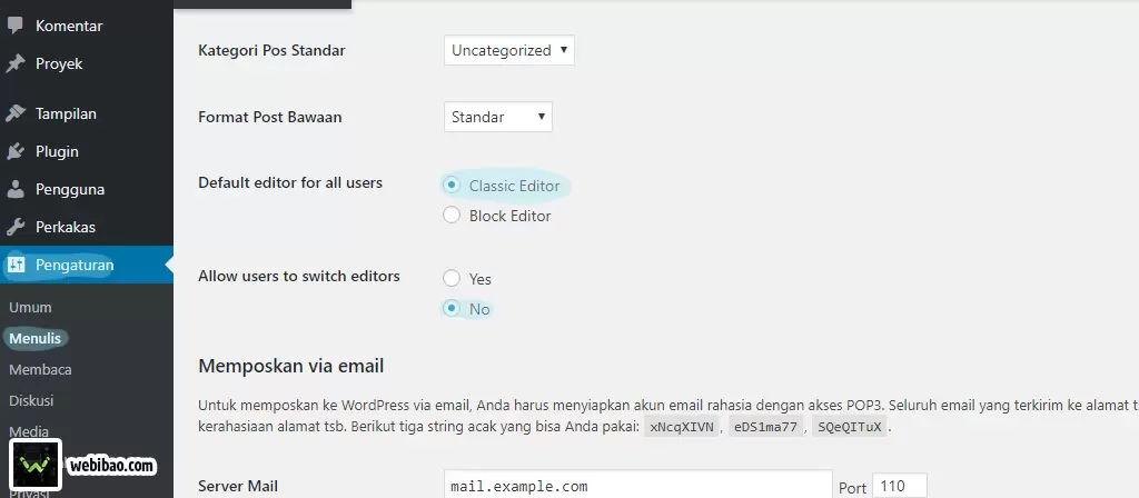 cara setting clasic editor wordpress