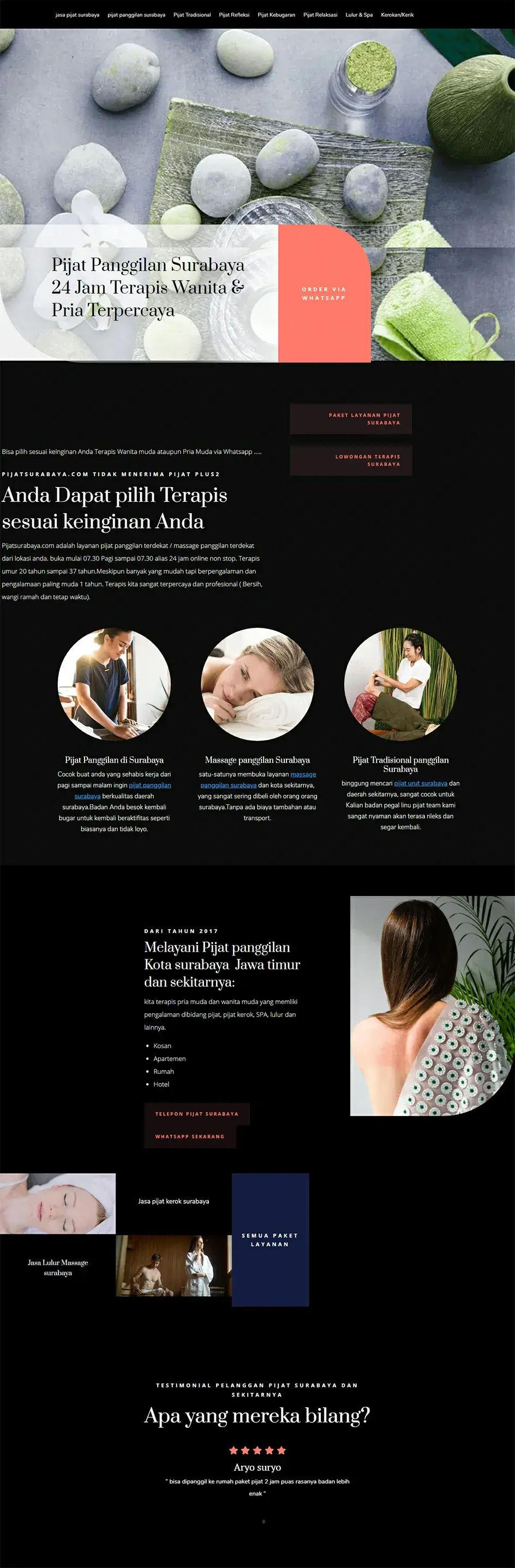 Contoh Landing page Pijat Surabaya yang buka 24 jam Terapis Pria dan Wanita