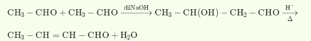 Ethanal/propanone is treated with NaOH