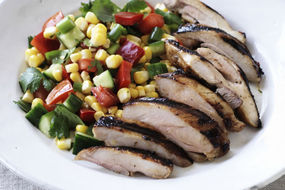 Marinated chicken thighs with a salsa salad