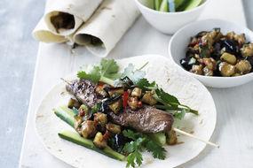 Five Spice Lamb Fillet and Eggplant Tortillas