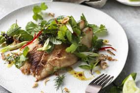 Quick Pan-Fried Fish with a Fresh Herb Salad