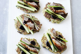 Zucchini Fritters with Roast Duck and Hoisin Sauce