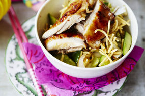 Lime and Ginger Chicken with Cucumber and Coconut Noodle Salad
