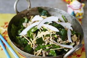 Pork, Spinach and Coconut Noodle Salad