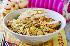 Spiced Chicken with Couscous and Noodle Salad