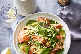 Salmon avocado and fried noodle salad
