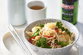 Fish, broccolini and cashew stir fry