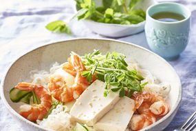 Chilled prawn, tofu and ginger noodle salad