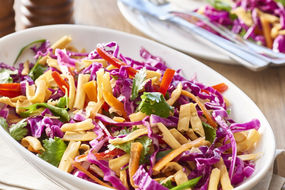 Red cabbage slaw with crunchy noodles