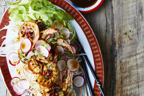 Grilled King Prawns with Pad Thai noodles lime and mint
