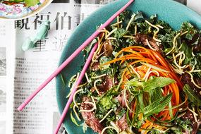 Skirt steak with kale slaw and crispy noodles
