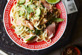 Sesame noodles with salmon and Asian herbs
