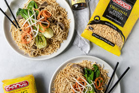 Fried Noodle Nest with Soy Beef Noodles