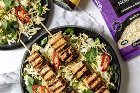 Fried Noodle Salad with Tofu Skewers