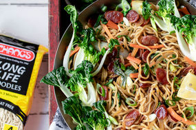 Noodle Stir Fry with Chinese Sausage