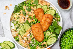 Crunchy Noodle Salad with Coated Fish