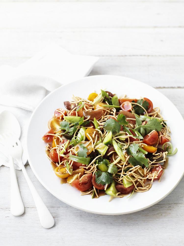Summer Tomato and Crispy Noodle Salad