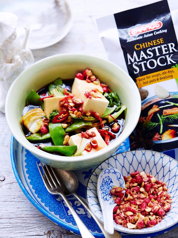 Chinese Master Stock Tofu and Asian Greens