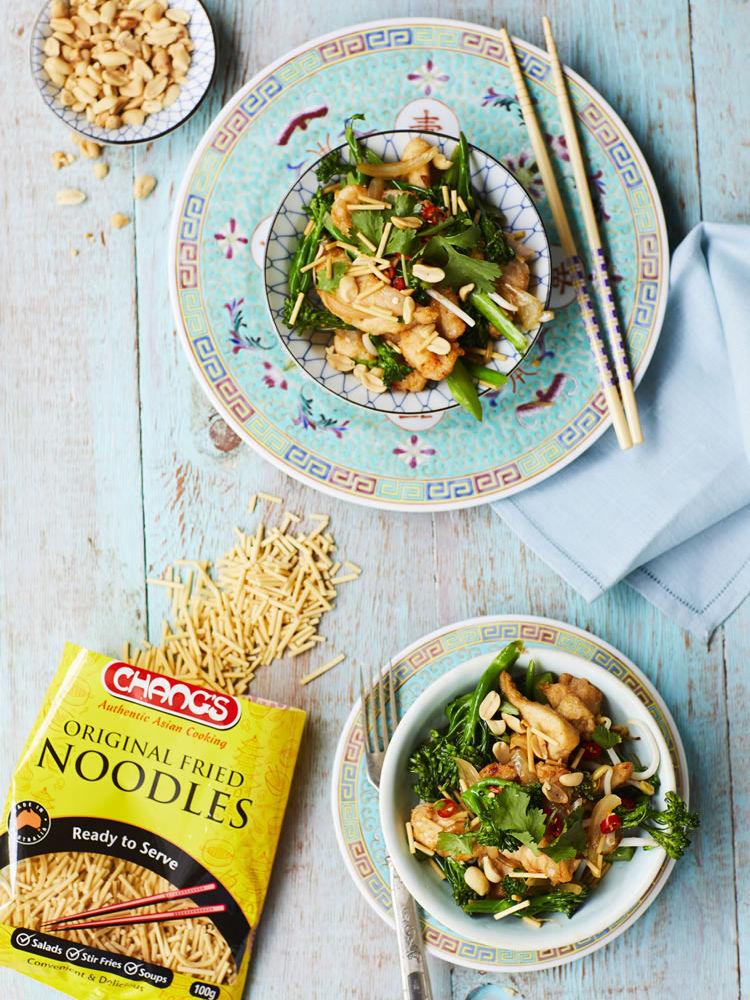 Crispy Fried Chicken Noodle Salad