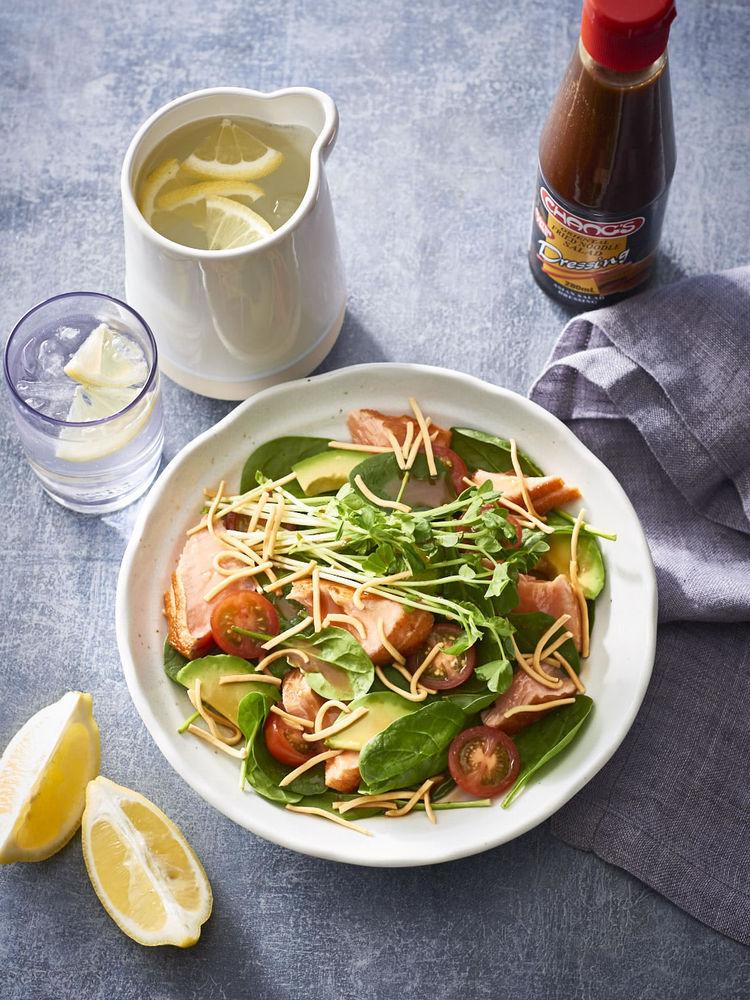 Salmon avocado and fried noodle salad