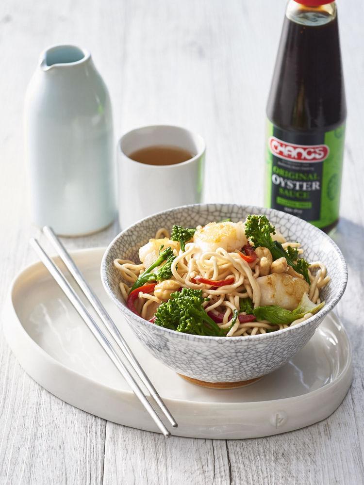 Fish, broccolini and cashew stir fry