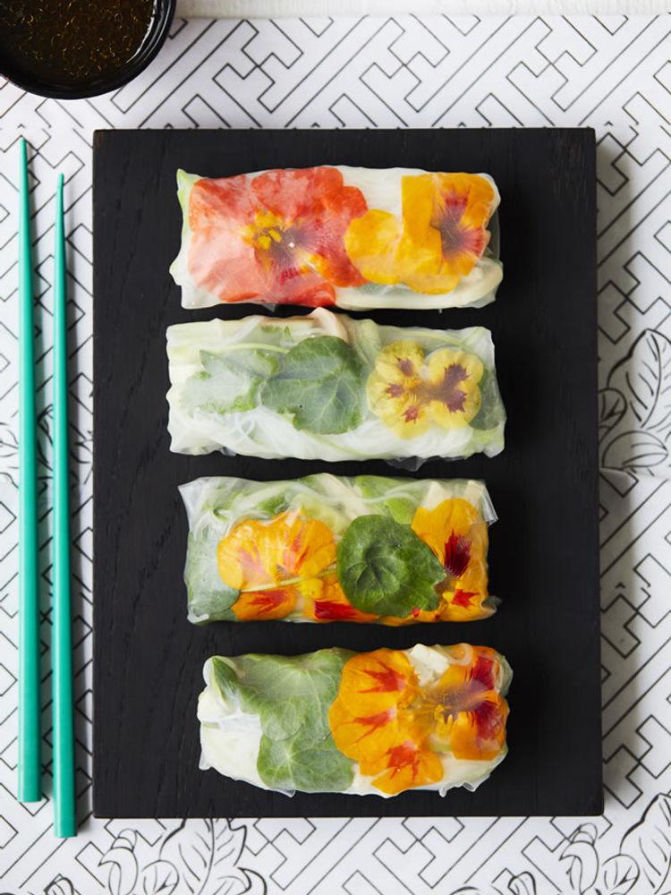 Vegan Rice Paper Rolls with Spring Florals