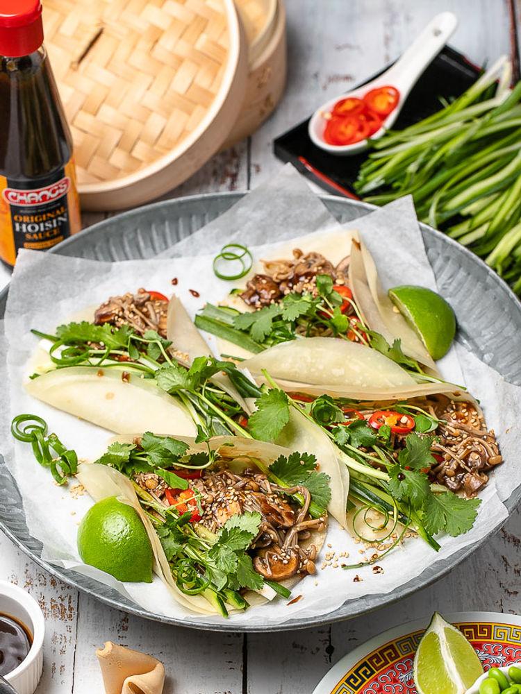 Hoisin Sauce Mushrooms with Peking Pancakes