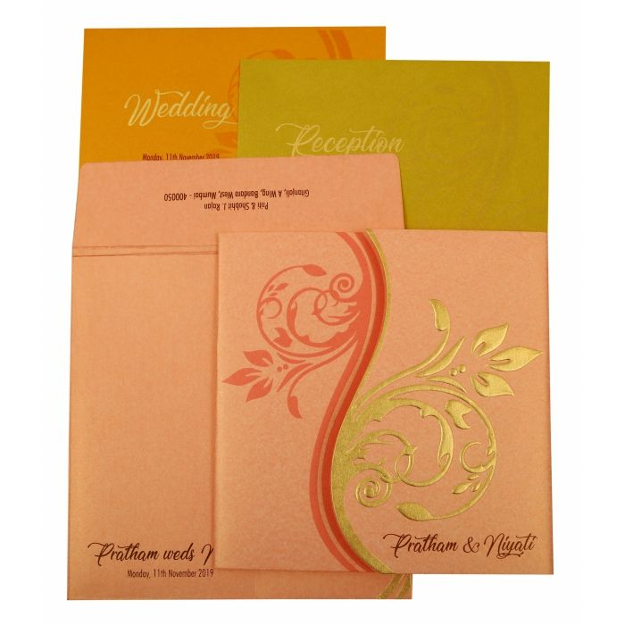 BABY PINK SHIMMERY FLORAL THEMED - EMBOSSED WEDDING INVITATION : CI-1900 - IndianWeddingCards