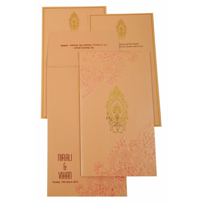 BABY PINK SHIMMERY FLORAL THEMED - FOIL STAMPED WEDDING INVITATION : C-1921 - 123WeddingCards