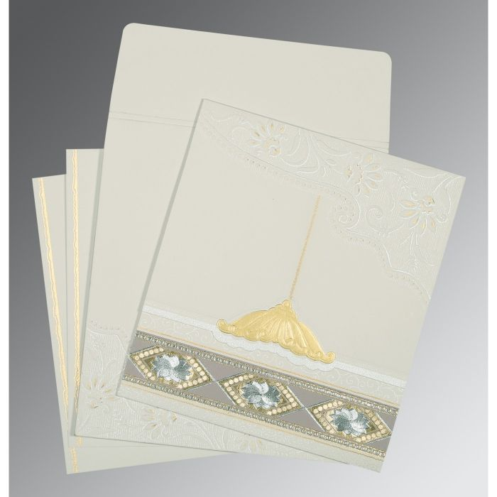 OFF-WHITE MATTE BOX THEMED - FOIL STAMPED WEDDING CARD : CW-1228 - IndianWeddingCards