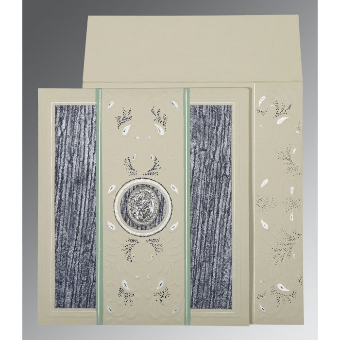 FOSSIL GREY MATTE EMBOSSED WEDDING CARD : CI-1261 - IndianWeddingCards